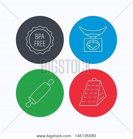 Kitchen scales, rolling pin and grater icons. BPA free linear sign. Linear icons on colored buttons. Flat web symbols. Vector