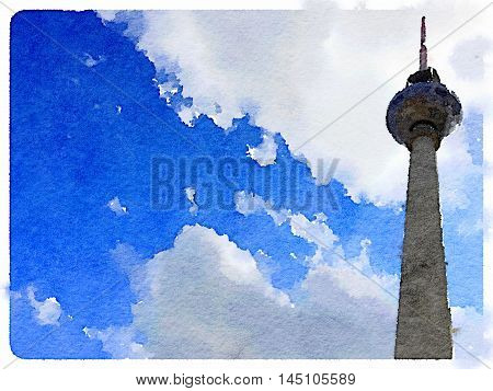 Digital watercolor painting of the Fernsehturm the TV Tower located on the Alexanderplatz in Berlin in Berlin. With space for text.