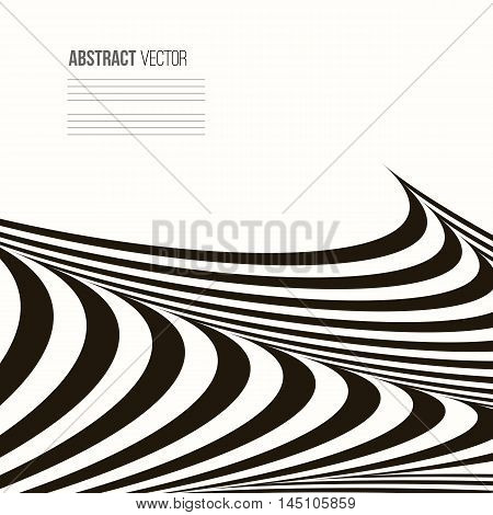 Wavy vector background. Abstract stripe Geometric pattern. Black and white texture.