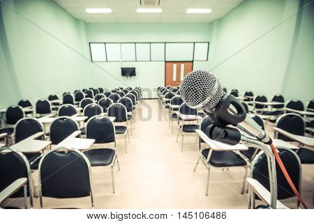 A microphone in front of a classroom