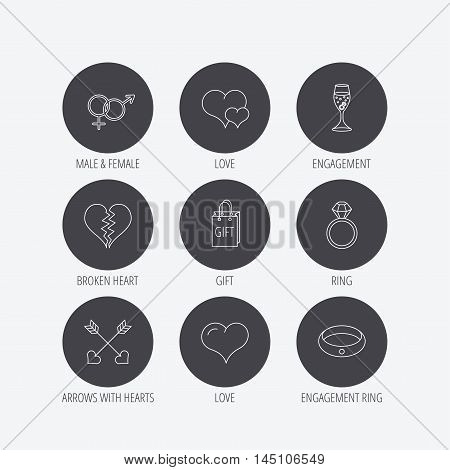 Love heart, gift box and wedding ring icons. Broken heart and engagement linear signs. Valentine amour arrows, brilliant flat line icons. Linear icons in circle buttons. Flat web symbols. Vector