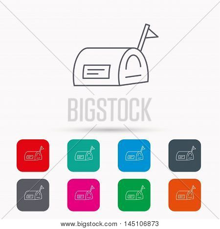 Mailbox with flag icon. Post email box sign. Linear icons in squares on white background. Flat web symbols. Vector