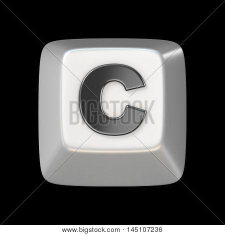 Computer Keyboard Key Font. Letter C 3D