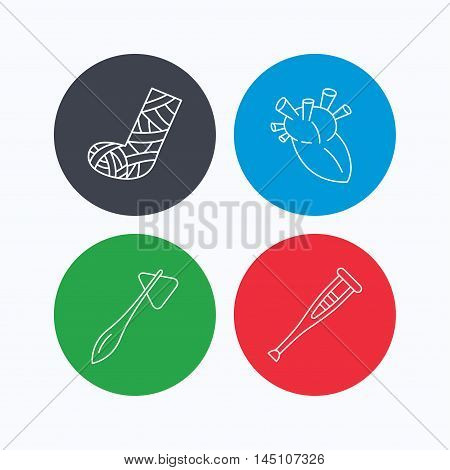 Gypsum, heart and medical hammer icons. Crutch linear sign. Linear icons on colored buttons. Flat web symbols. Vector