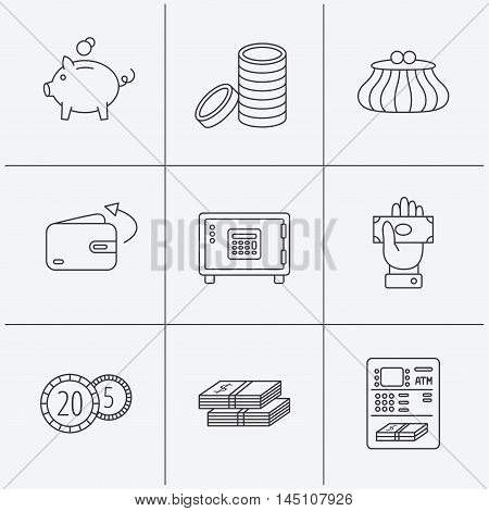 Piggy bank, cash money and wallet icons. Safe box, send money and dollar usd linear signs. Give money, coins and ATM icons. Linear icons on white background. Vector