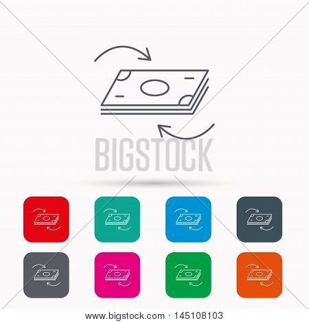 Money flow icon. Cash investment sign. Currency exchange symbol. Linear icons in squares on white background. Flat web symbols. Vector