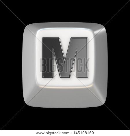 Computer Keyboard Key Font. Letter M 3D