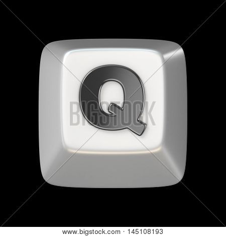Computer Keyboard Key Font. Letter Q 3D