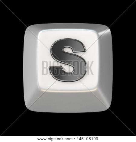 Computer Keyboard Key Font. Letters  3D