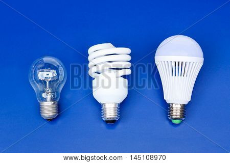 Old and new generation of light bulbs - incandescent light bulb, fluorescent bulb, and LED bulb on blue background