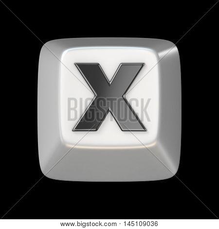 Computer Keyboard Key Font. Letter X 3D