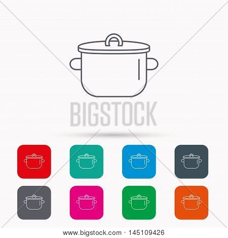 Pan icon. Cooking pot sign. Kitchen tool symbol. Linear icons in squares on white background. Flat web symbols. Vector