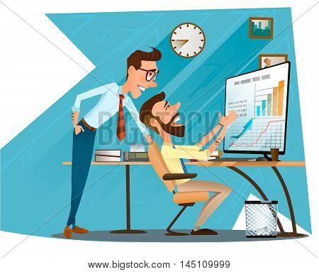 Two businessmen and good result of their work. Flat style modern vector illustration