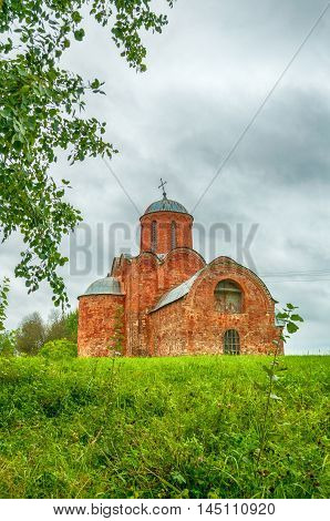 Architecture summer landscape - Church of the Transfiguration of Savior on Kovalevo in Veliky Novgorod Russia. Soft filter applied.