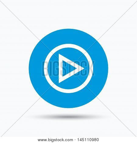Play icon. Audio or Video player symbol. Blue circle button with flat web icon. Vector