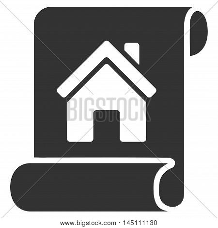Realty Description Roll icon. Glyph style is flat iconic symbol, gray color, white background.