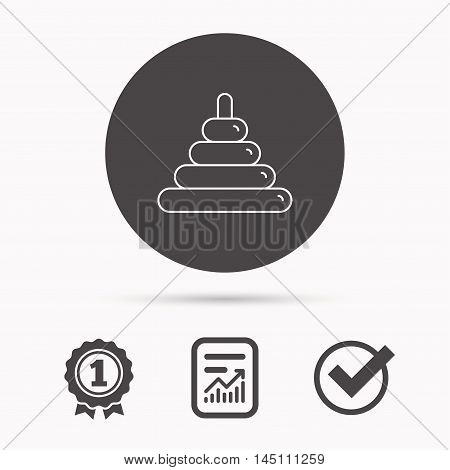 Pyramid baby toy icon. Child tower game sign symbol. Report document, winner award and tick. Round circle button with icon. Vector