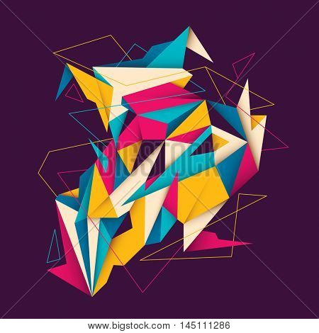 Abstract object with geometric shapes. Vector illustration.