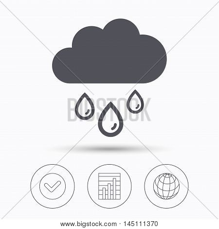 Cloud with rain drops icon. Rainy day symbol. Check tick, graph chart and internet globe. Linear icons on white background. Vector