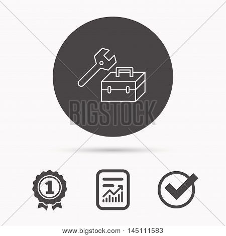 Repair toolbox icon. Wrench key sign. Report document, winner award and tick. Round circle button with icon. Vector