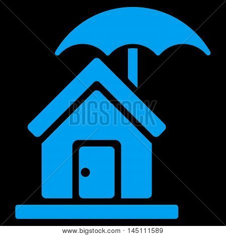House under Umbrella icon. Vector style is flat iconic symbol, blue color, black background.