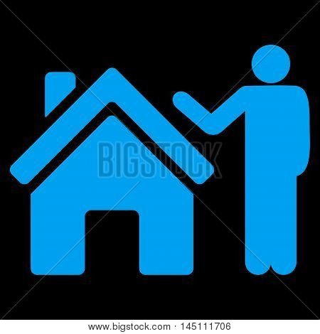 Realty Buyer icon. Vector style is flat iconic symbol, blue color, black background.