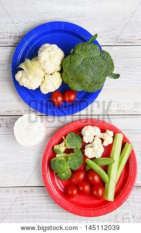Top view of two paper plates with vegetables and Ranch Dip. Vertical format on a rustic wood picnic table.
