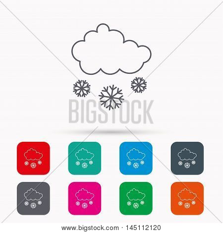 Snow icon. Snowflakes with cloud sign. Snowy overcast symbol. Linear icons in squares on white background. Flat web symbols. Vector