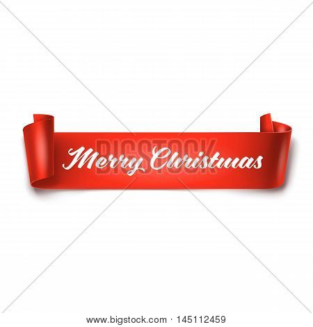 Vector illustration of Merry Christmas inscription on red detailed curved ribbon isolated on white background. Curved paper banner.