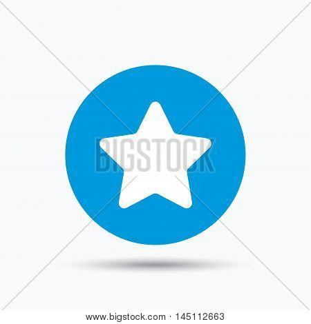 Star icon. Favorite or best sign. Web ranking symbol. Blue circle button with flat web icon. Vector