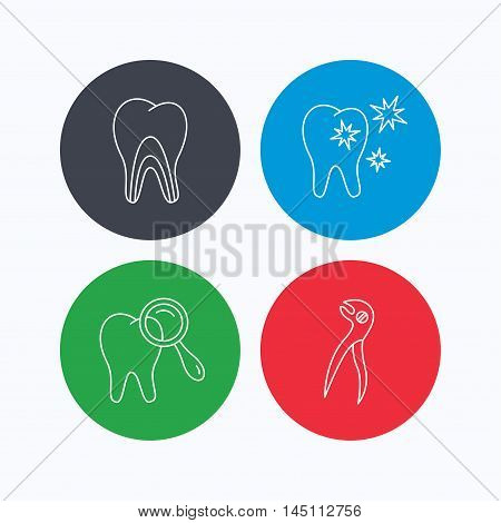 Healthy teeth, dentinal tubules and pliers icons. Dental diagnostics linear sign. Linear icons on colored buttons. Flat web symbols. Vector