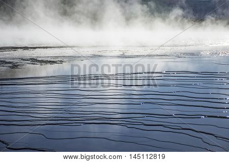 Ripples And Steam In Midway Geyser Basin