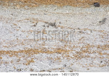 Abstract view of Flowing Water in Norris Geyser Basin geothermal area in Yellowstone National Park USA