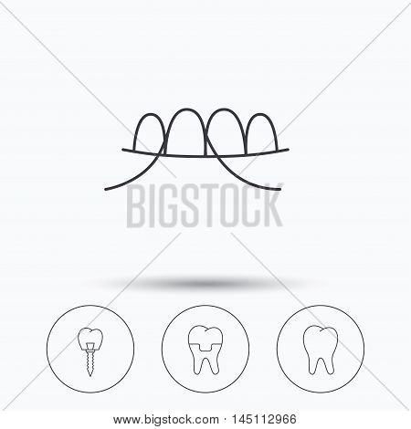 Dental implant, floss and tooth icons. Dental crown linear sign. Linear icons in circle buttons. Flat web symbols. Vector