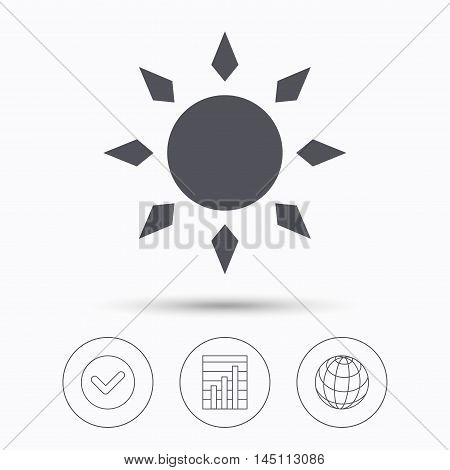 Sun icon. Sunny weather symbol. Check tick, graph chart and internet globe. Linear icons on white background. Vector