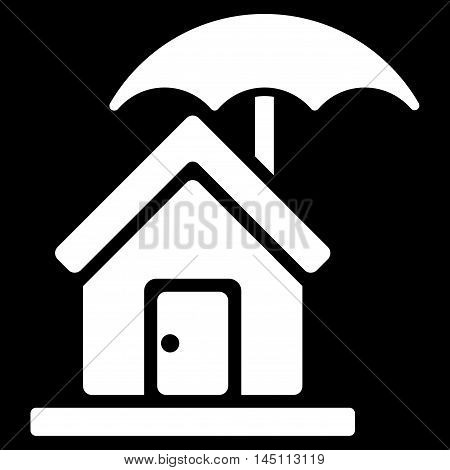 House under Umbrella icon. Vector style is flat iconic symbol, white color, black background.