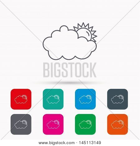 Sunny day icon. Summer sign. Overcast weather symbol. Linear icons in squares on white background. Flat web symbols. Vector
