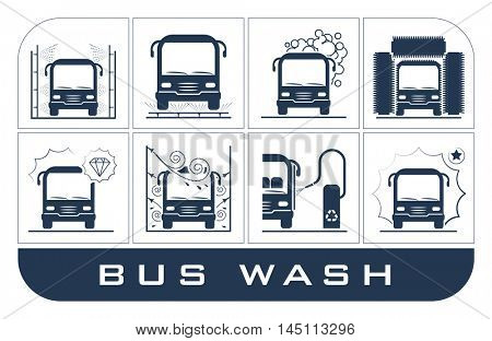 Collection of very useful icons presenting equipment used for bus wash.