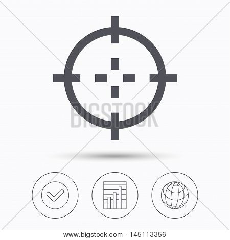 Target icon. Crosshair aim symbol. Check tick, graph chart and internet globe. Linear icons on white background. Vector