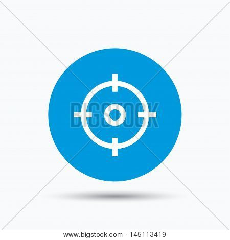 Target icon. Crosshair aim symbol. Blue circle button with flat web icon. Vector