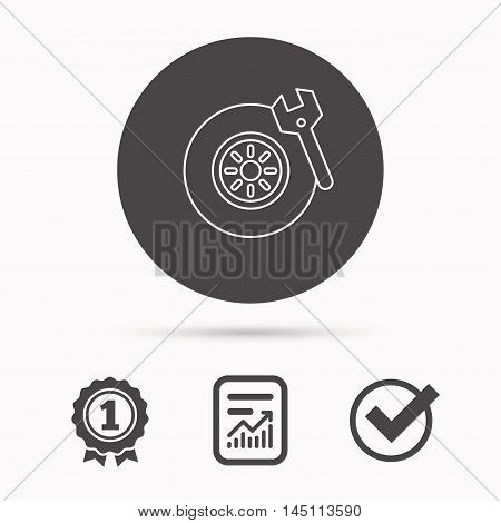 Tire service icon. Wheel and wrench key sign. Report document, winner award and tick. Round circle button with icon. Vector