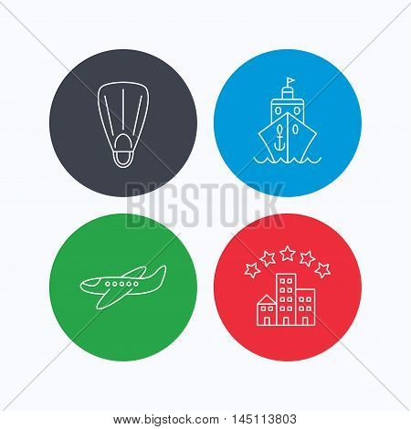 Cruise, flippers and airplane icons. Hotel linear sign. Linear icons on colored buttons. Flat web symbols. Vector