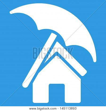Home under Umbrella icon. Vector style is flat iconic symbol, white color, blue background.