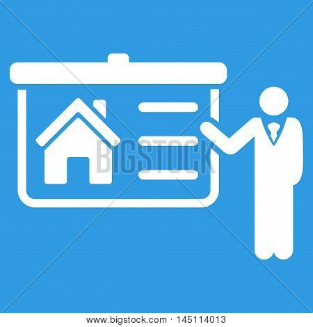 House Presentation icon. Vector style is flat iconic symbol, white color, blue background.