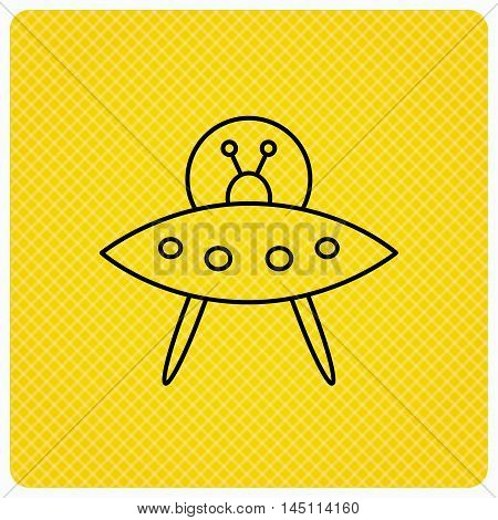 UFO icon. Unknown flying object sign. Martians symbol. Linear icon on orange background. Vector
