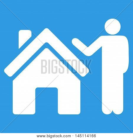 Realty Buyer icon. Vector style is flat iconic symbol, white color, blue background.