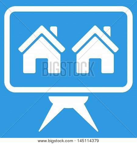 Realty Project icon. Vector style is flat iconic symbol, white color, blue background.