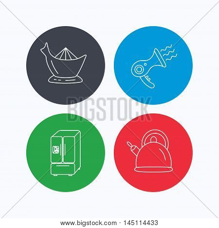 Hair-dryer, teapot and juicer icons. Refrigerator fridge linear sign. Linear icons on colored buttons. Flat web symbols. Vector