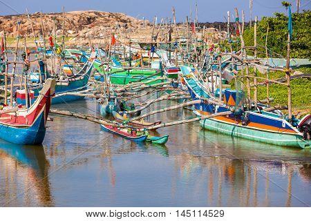 Fishing boats in the marine Sri Lanka