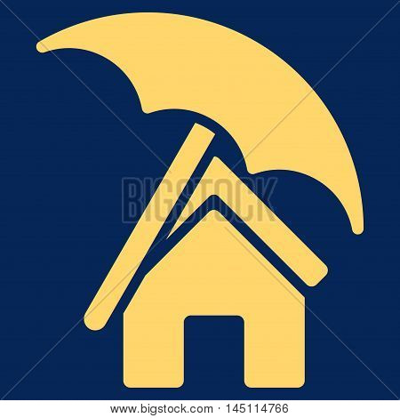 Home under Umbrella icon. Vector style is flat iconic symbol, yellow color, blue background.